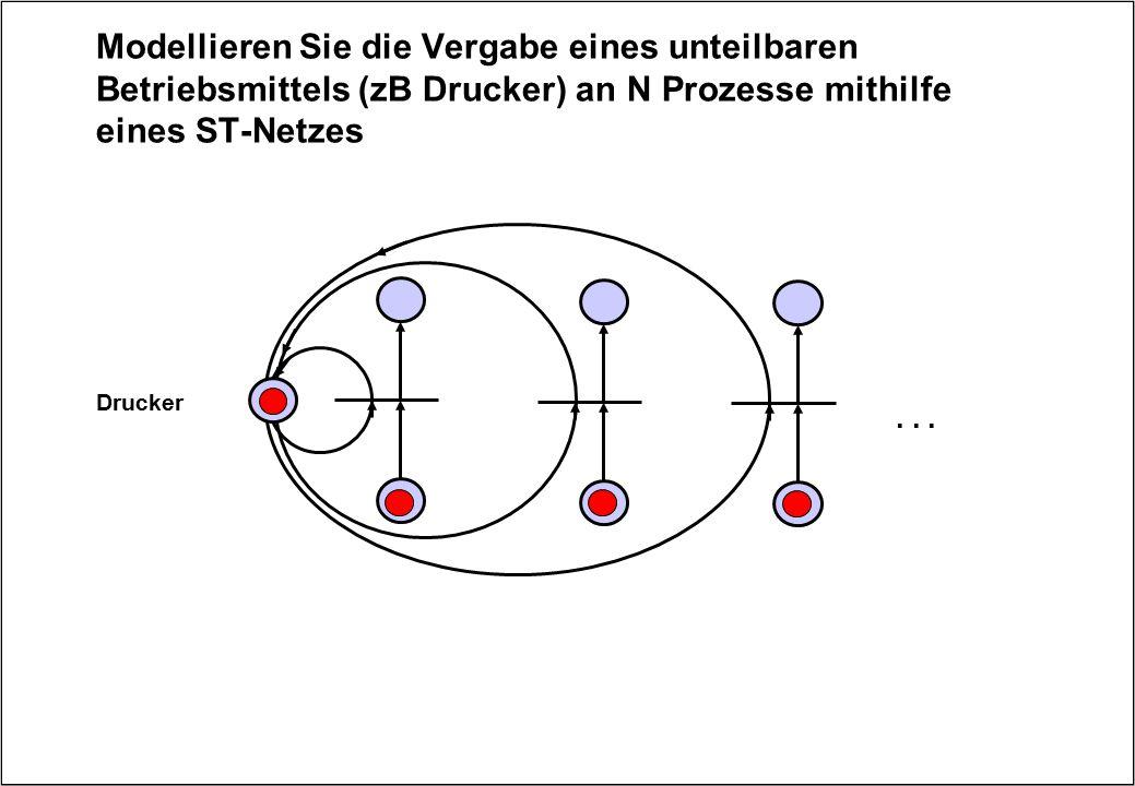 Modellieren Sie die Vergabe eines unteilbaren Betriebsmittels (zB Drucker) an N Prozesse mithilfe eines ST-Netzes Drucker...