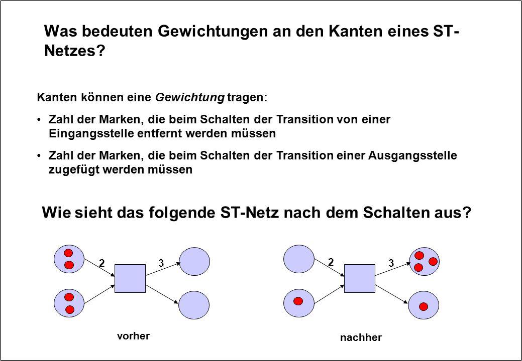 Was bedeuten Gewichtungen an den Kanten eines ST- Netzes? Kanten können eine Gewichtung tragen: Zahl der Marken, die beim Schalten der Transition von