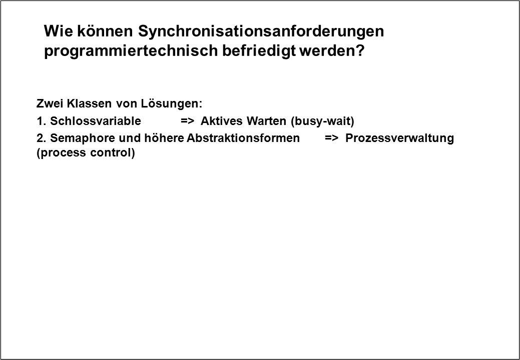 Wie können Synchronisationsanforderungen programmiertechnisch befriedigt werden? Zwei Klassen von Lösungen: 1. Schlossvariable=> Aktives Warten (busy-