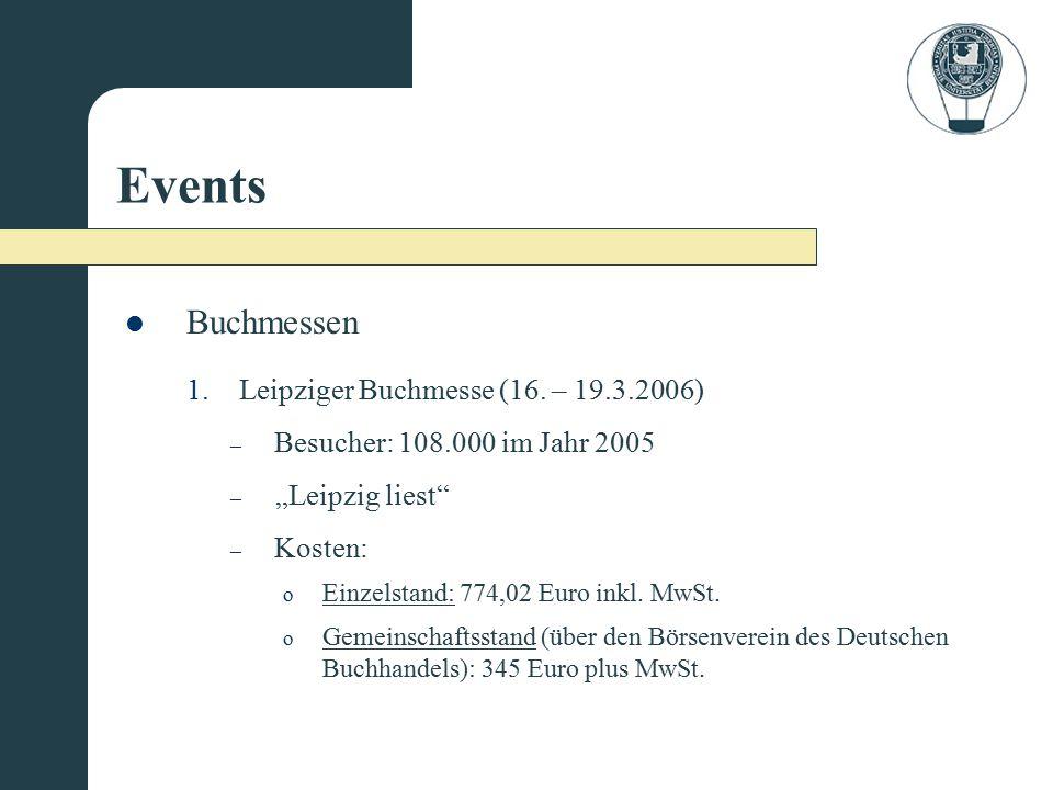 """Events o Einzelstand: 774,02 Euro inkl. MwSt. – Kosten: – """"Leipzig liest"""" – Besucher: 108.000 im Jahr 2005 1.Leipziger Buchmesse (16. – 19.3.2006) Buc"""