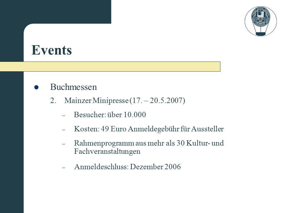 Events – Anmeldeschluss: Dezember 2006 – Kosten: 49 Euro Anmeldegebühr für Aussteller – Rahmenprogramm aus mehr als 30 Kultur- und Fachveranstaltungen 2.Mainzer Minipresse (17.