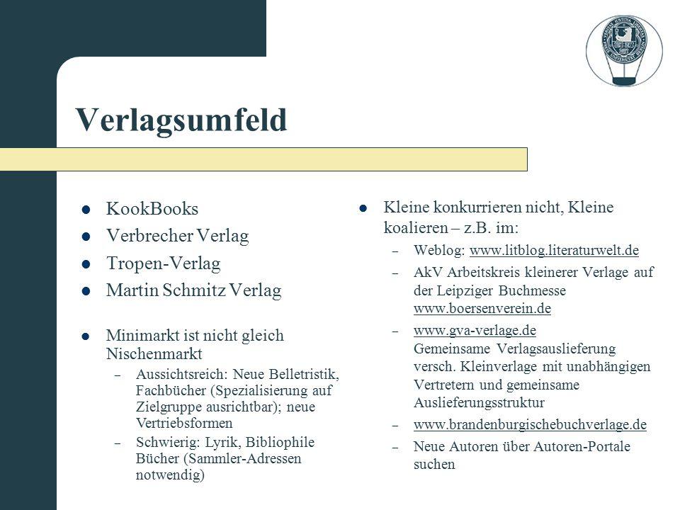 Verlagsumfeld KookBooks Verbrecher Verlag Tropen-Verlag Martin Schmitz Verlag Kleine konkurrieren nicht, Kleine koalieren – z.B. im: – Weblog: www.lit