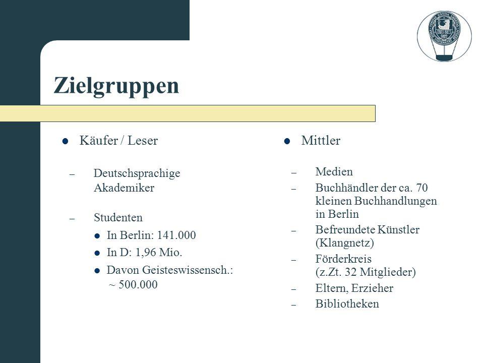 Zielgruppen Käufer / Leser Mittler – Deutschsprachige Akademiker – Studenten In Berlin: 141.000 In D: 1,96 Mio. Davon Geisteswissensch.: ~ 500.000 – M