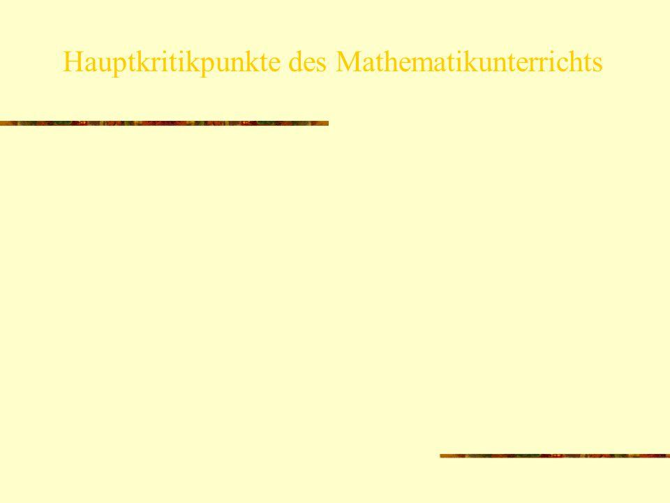 Stofffülle auf Kosten eines verstehensorientierten MU mangelnde Übertragbarkeit und Anwendbarkeit der Schulmathematik Hauptkritikpunkte des Mathematik