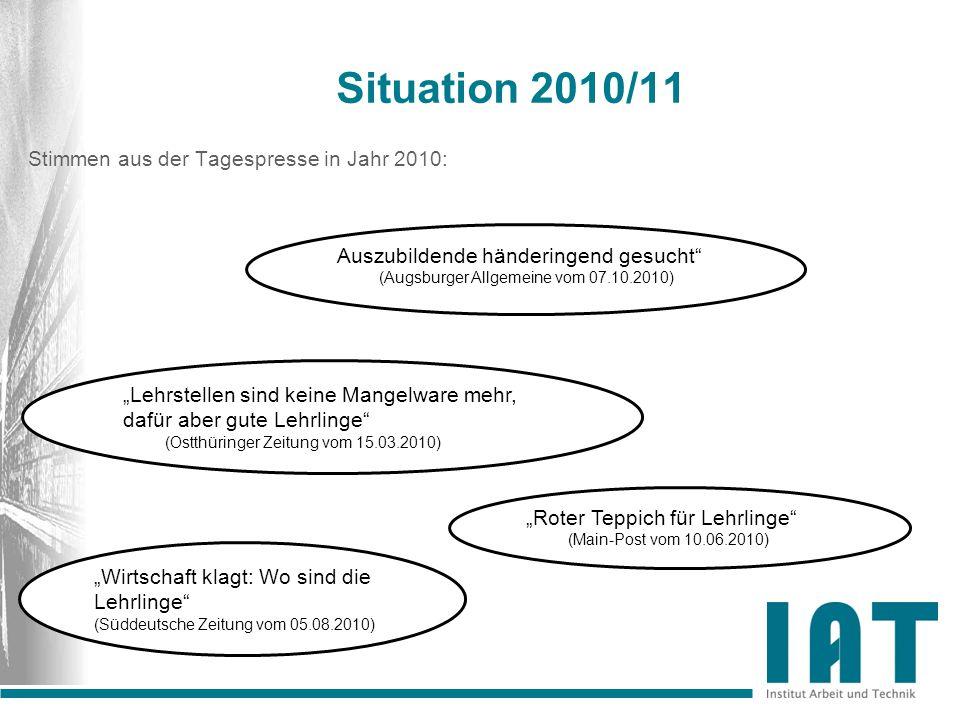 Situation 2010/11 Haben sich die Zeiten geändert.