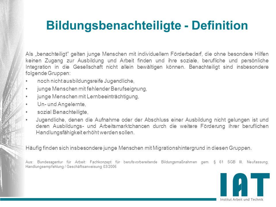 Quantitative Dimension Übergang/Bildungsbenachteiligung Bestand Übergangssystem NRW in 2009 Bundesagentur für Arbeit 38.175 Bildungsgänge des Übergangs 79.472 Altbewerber 42.932