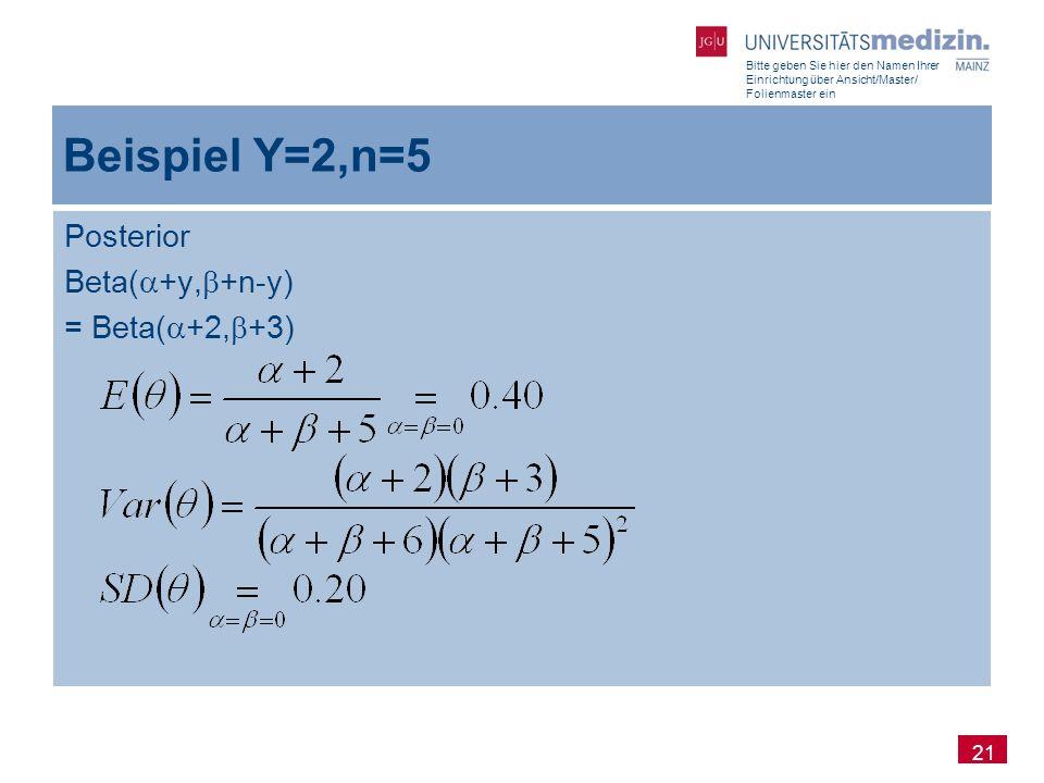 Bitte geben Sie hier den Namen Ihrer Einrichtung über Ansicht/Master/ Folienmaster ein 21 Beispiel Y=2,n=5 Posterior Beta(  +y,  +n-y) = Beta(  +2,