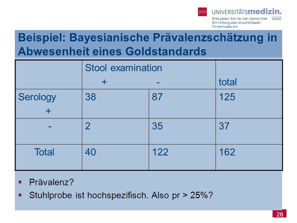 Bitte geben Sie hier den Namen Ihrer Einrichtung über Ansicht/Master/ Folienmaster ein 26 Beispiel: Bayesianische Prävalenzschätzung in Abwesenheit ei