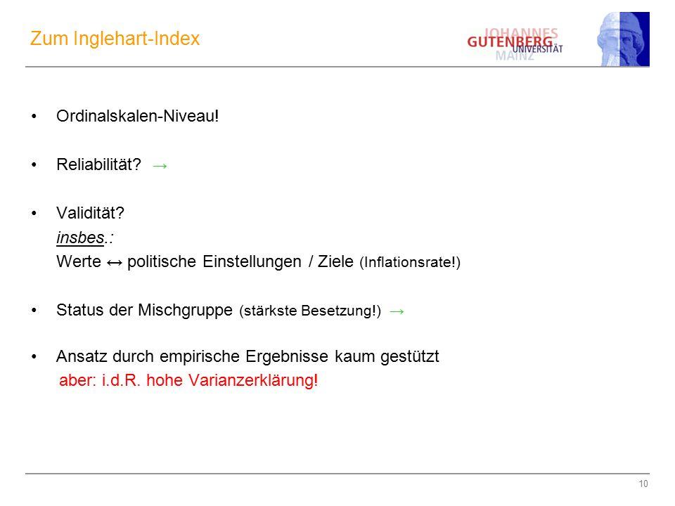 10 Zum Inglehart-Index Ordinalskalen-Niveau! Reliabilität? → Validität? insbes.: Werte ↔ politische Einstellungen / Ziele (Inflationsrate!) Status der