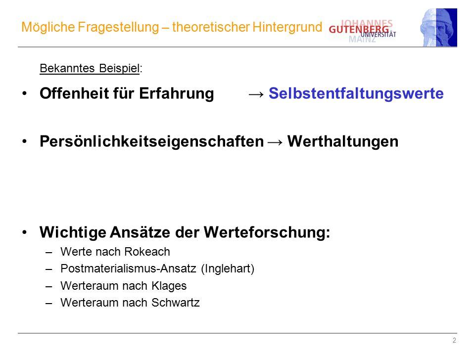 """13 Zum Ansatz von Klages: Kritik an Inglehart → 2 Dimensionen Zentrale Stellung der """"Wertesynthese"""
