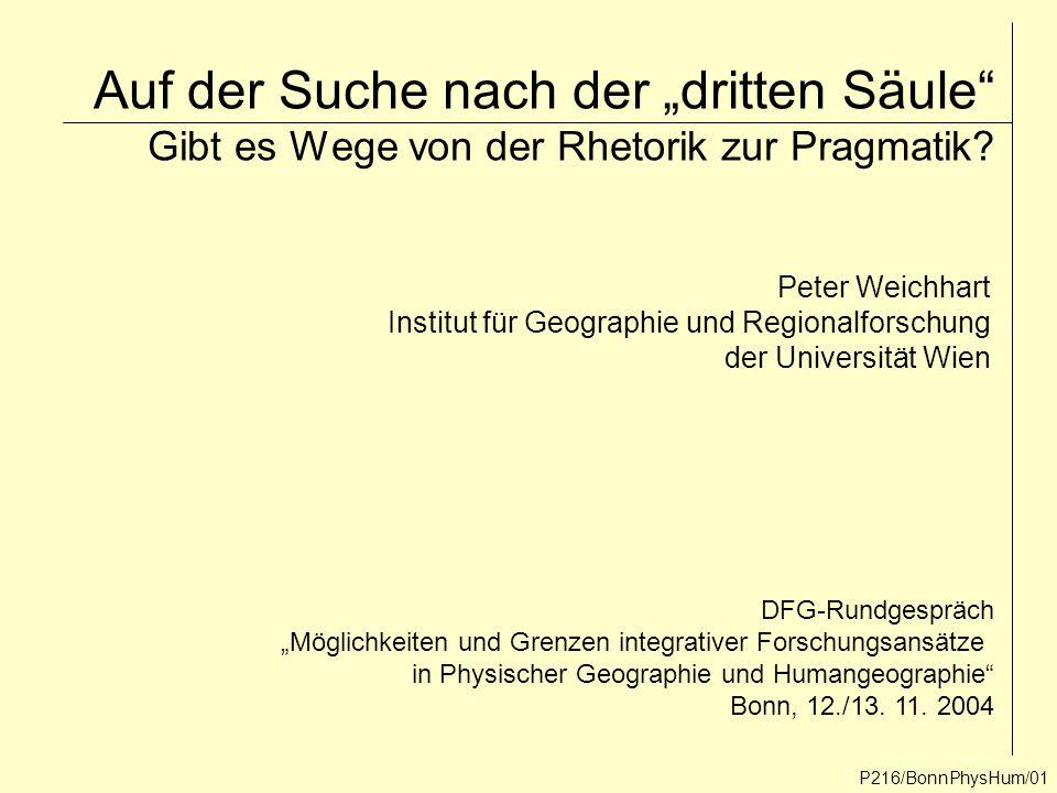 """Auf der Suche nach der """"dritten Säule"""" Gibt es Wege von der Rhetorik zur Pragmatik? P216/BonnPhysHum/01 Peter Weichhart Institut für Geographie und Re"""