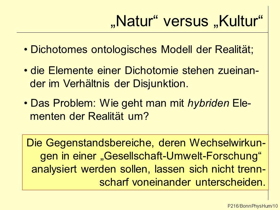 """P216/BonnPhysHum/10 """"Natur"""" versus """"Kultur"""" Dichotomes ontologisches Modell der Realität; die Elemente einer Dichotomie stehen zueinan- der im Verhält"""