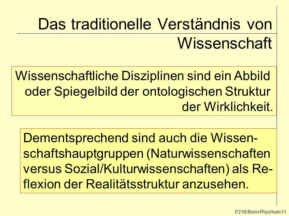 P216/BonnPhysHum/11 Das traditionelle Verständnis von Wissenschaft Wissenschaftliche Disziplinen sind ein Abbild oder Spiegelbild der ontologischen St