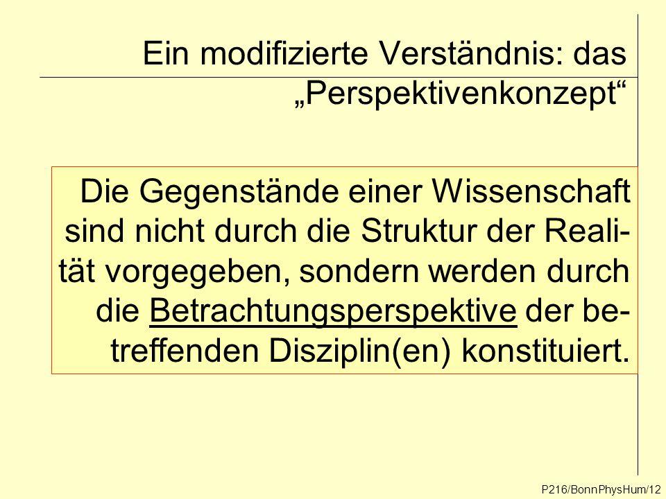 """P216/BonnPhysHum/12 Ein modifizierte Verständnis: das """"Perspektivenkonzept"""" Die Gegenstände einer Wissenschaft sind nicht durch die Struktur der Reali"""
