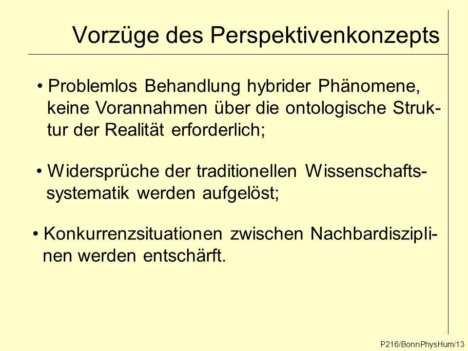 P216/BonnPhysHum/13 Vorzüge des Perspektivenkonzepts Problemlos Behandlung hybrider Phänomene, keine Vorannahmen über die ontologische Struk- tur der