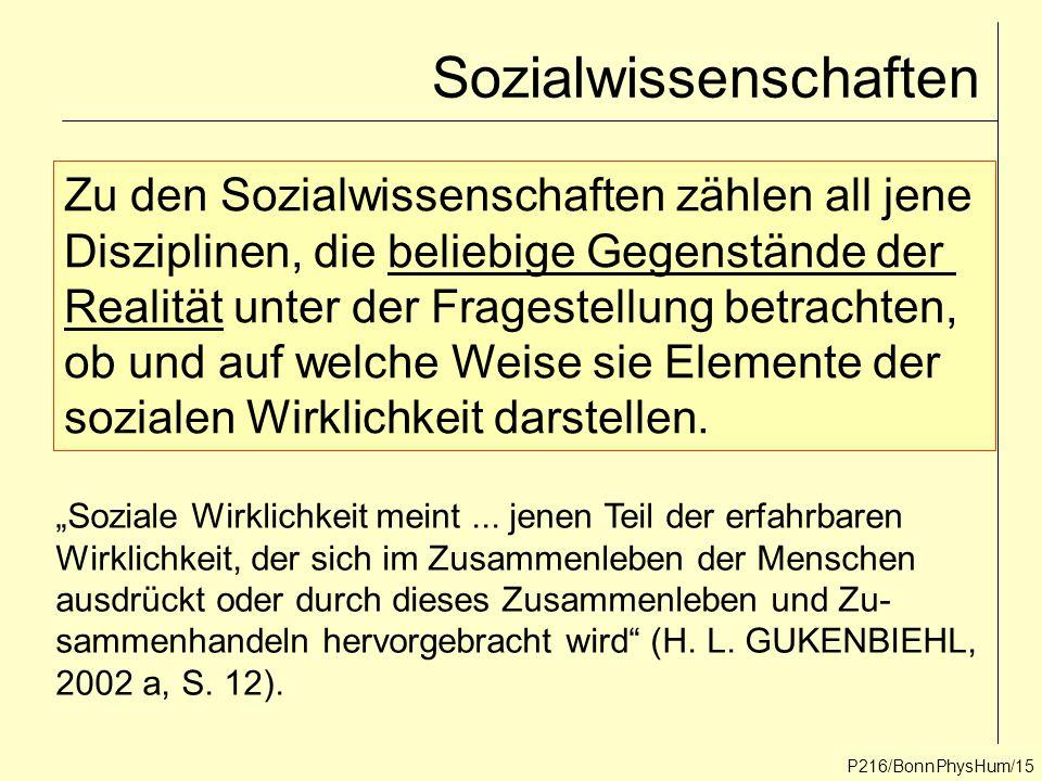 P216/BonnPhysHum/15 Sozialwissenschaften Zu den Sozialwissenschaften zählen all jene Disziplinen, die beliebige Gegenstände der Realität unter der Fra