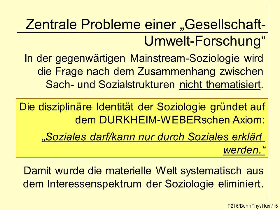 """Zentrale Probleme einer """"Gesellschaft- Umwelt-Forschung"""" P216/BonnPhysHum/16 In der gegenwärtigen Mainstream-Soziologie wird die Frage nach dem Zusamm"""