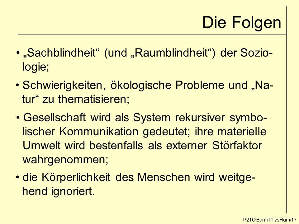 """P216/BonnPhysHum/17 Die Folgen """"Sachblindheit"""" (und """"Raumblindheit"""") der Sozio- logie; Schwierigkeiten, ökologische Probleme und """"Na- tur"""" zu thematis"""