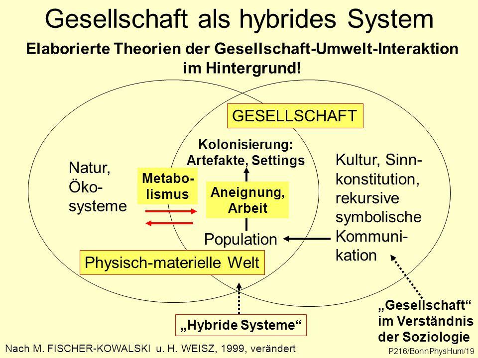 Gesellschaft als hybrides System Kultur, Sinn- konstitution, rekursive symbolische Kommuni- kation Natur, Öko- systeme Nach M. FISCHER-KOWALSKI u. H.