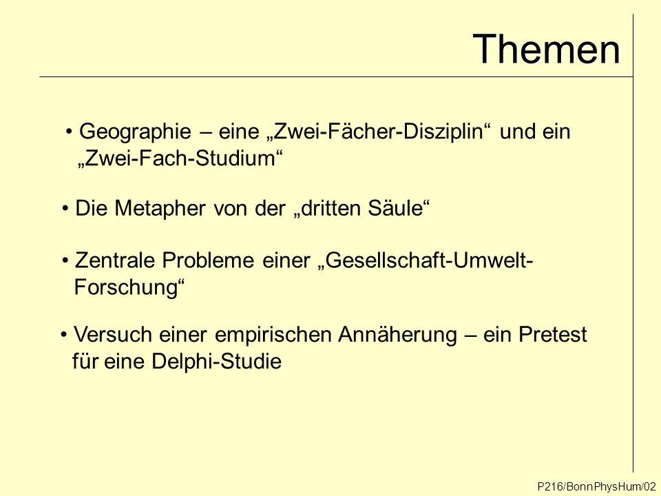 """P216/BonnPhysHum/02 Themen Geographie – eine """"Zwei-Fächer-Disziplin"""" und ein """"Zwei-Fach-Studium"""" Die Metapher von der """"dritten Säule"""" Zentrale Problem"""