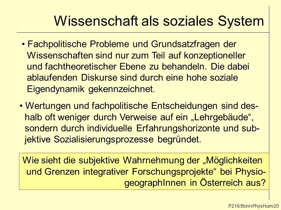 Wissenschaft als soziales System P216/BonnPhysHum/20 Fachpolitische Probleme und Grundsatzfragen der Wissenschaften sind nur zum Teil auf konzeptionel