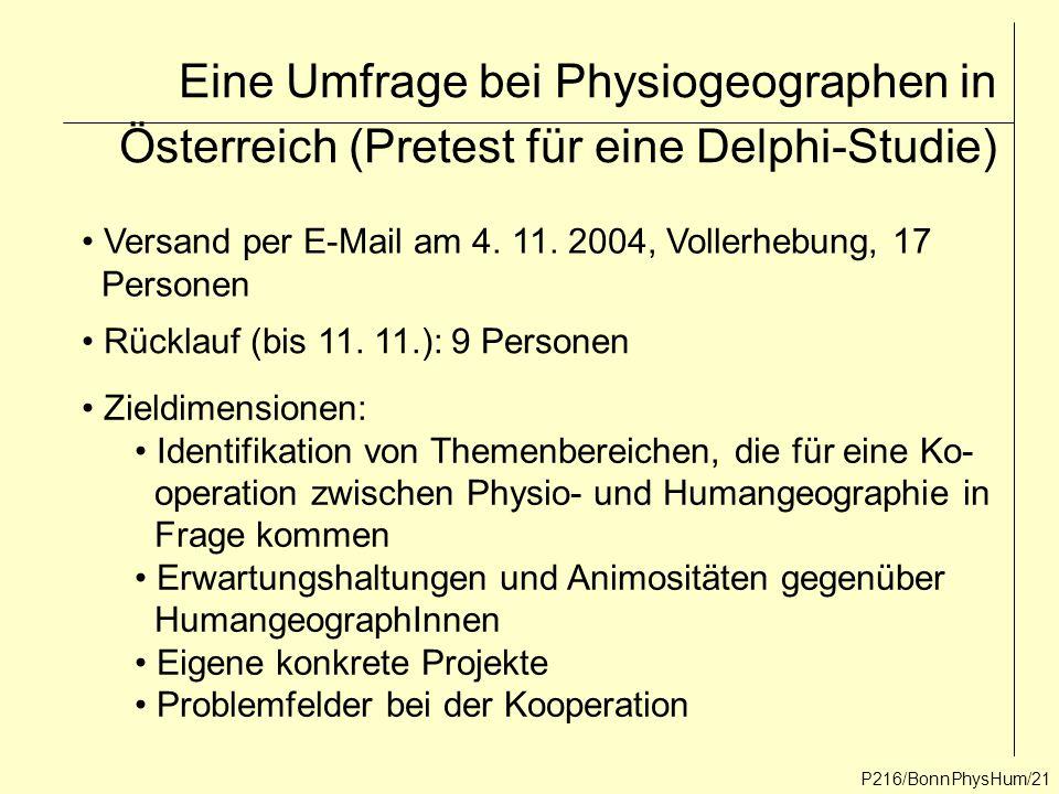 Eine Umfrage bei Physiogeographen in Österreich (Pretest für eine Delphi-Studie) P216/BonnPhysHum/21 Versand per E-Mail am 4. 11. 2004, Vollerhebung,