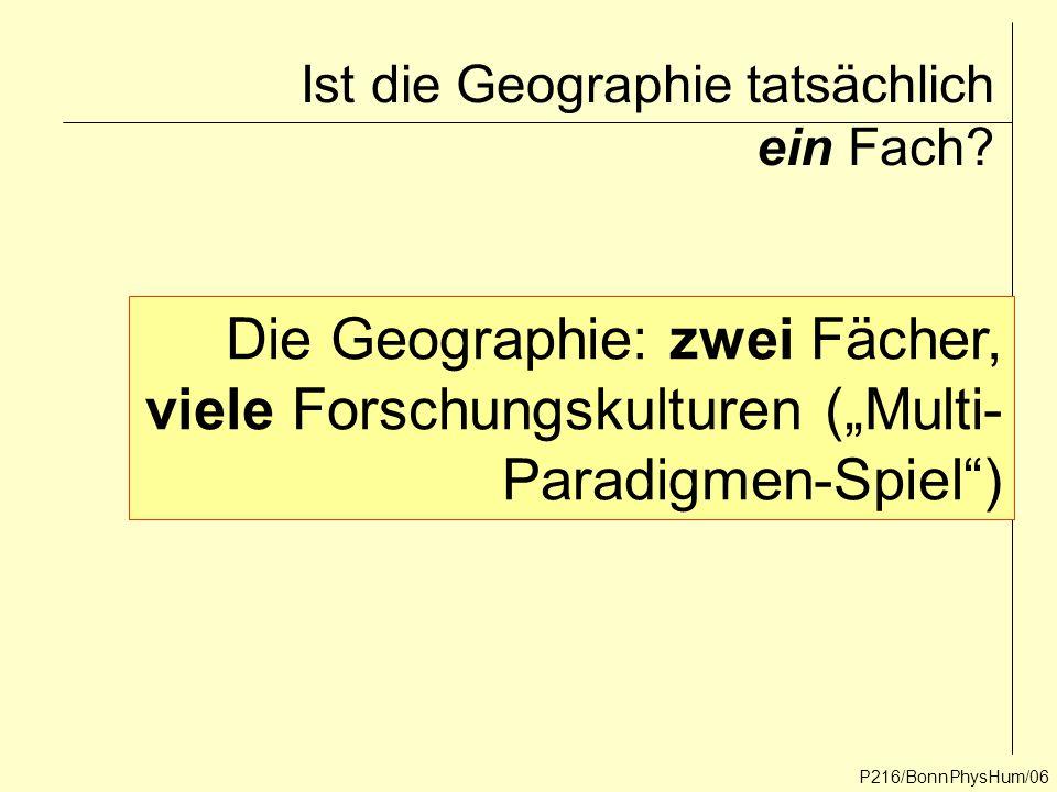 """Ist die Geographie tatsächlich ein Fach? P216/BonnPhysHum/06 Die Geographie: zwei Fächer, viele Forschungskulturen (""""Multi- Paradigmen-Spiel"""")"""