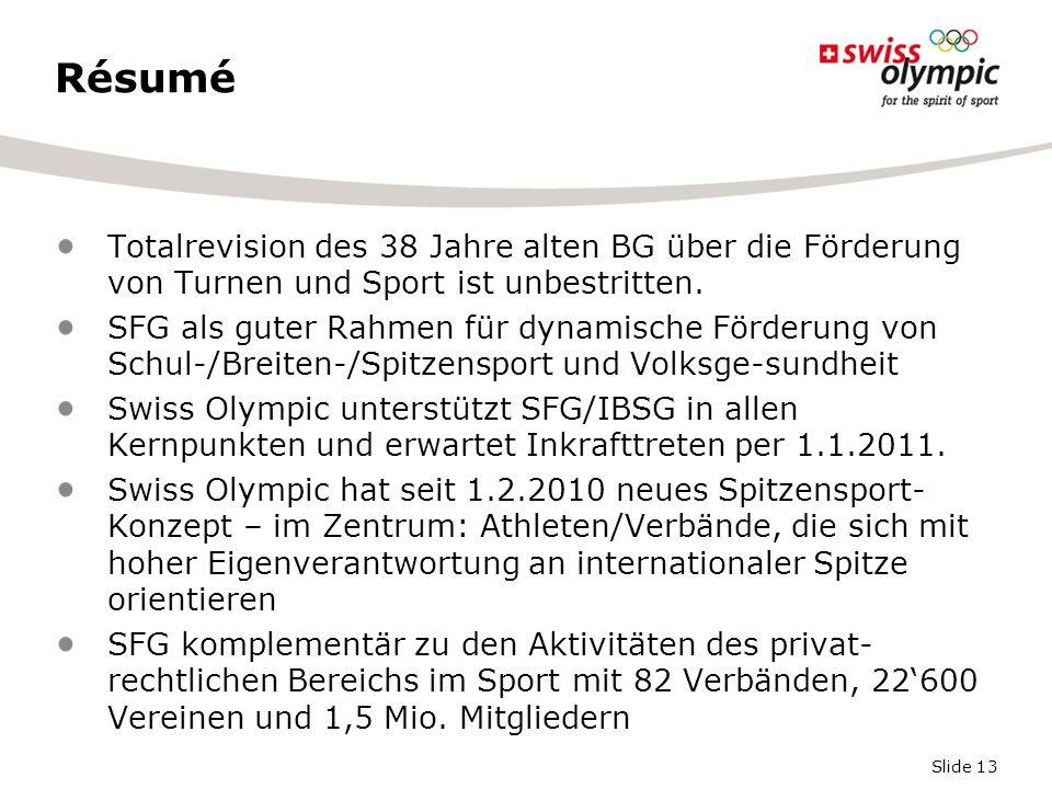 Slide 13 Résumé Totalrevision des 38 Jahre alten BG über die Förderung von Turnen und Sport ist unbestritten. SFG als guter Rahmen für dynamische Förd