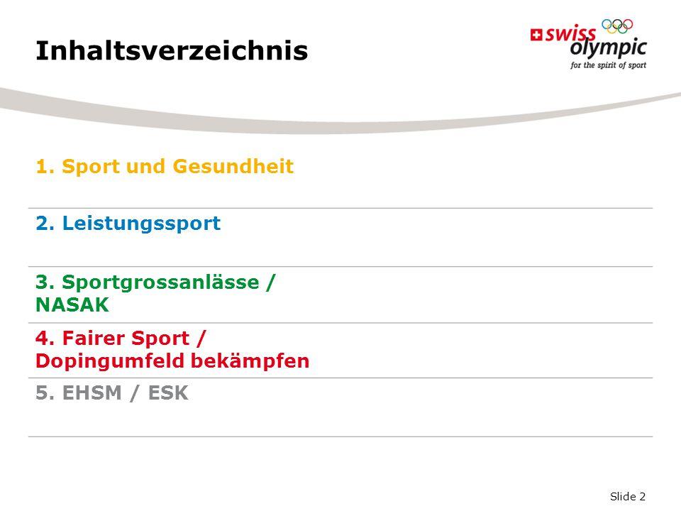 Slide 13 Résumé Totalrevision des 38 Jahre alten BG über die Förderung von Turnen und Sport ist unbestritten.
