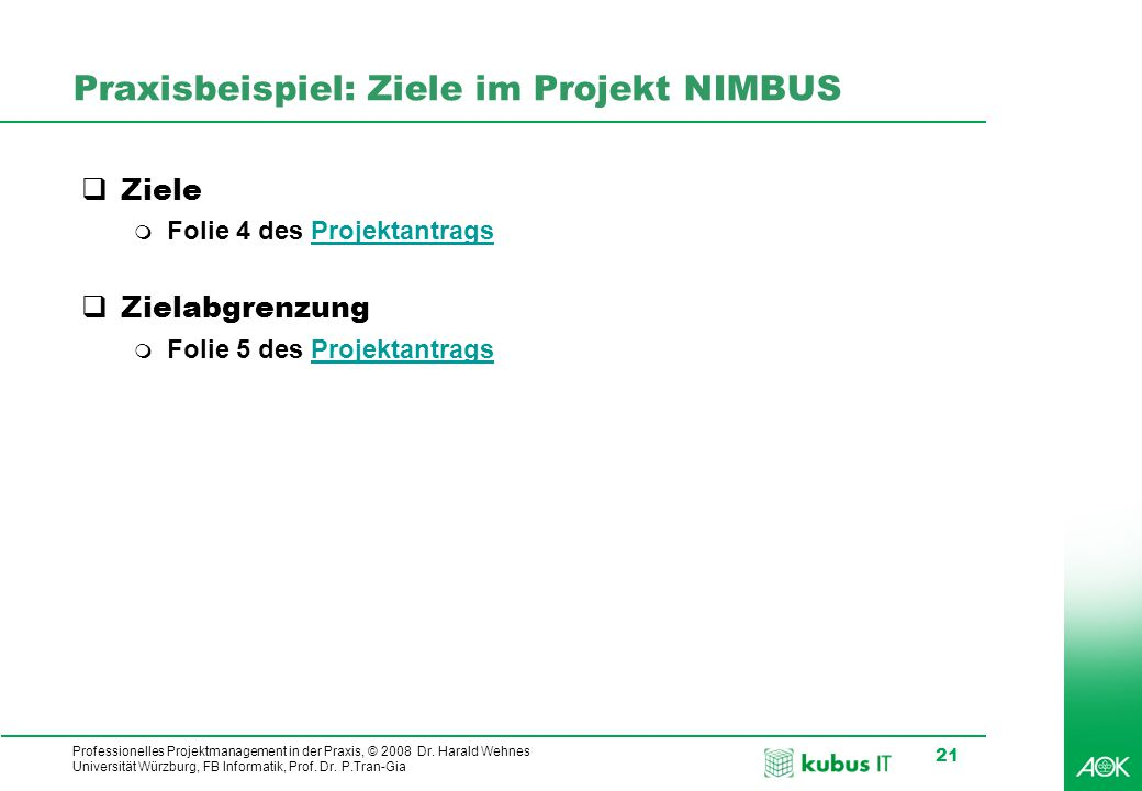 Professionelles Projektmanagement in der Praxis, © 2008 Dr. Harald Wehnes Universität Würzburg, FB Informatik, Prof. Dr. P.Tran-Gia 21 Praxisbeispiel: