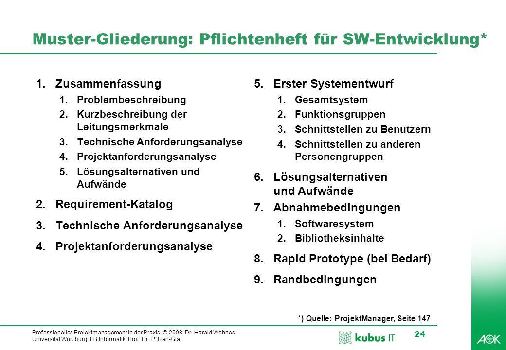 Professionelles Projektmanagement in der Praxis, © 2008 Dr. Harald Wehnes Universität Würzburg, FB Informatik, Prof. Dr. P.Tran-Gia 24 Muster-Gliederu