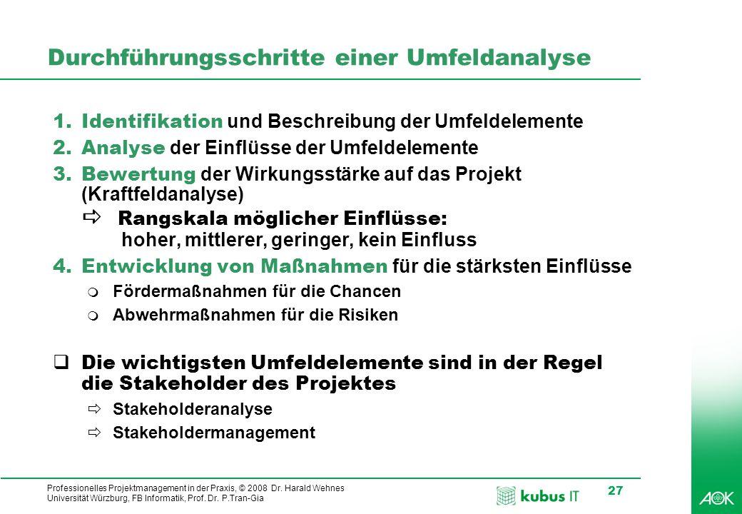 Professionelles Projektmanagement in der Praxis, © 2008 Dr. Harald Wehnes Universität Würzburg, FB Informatik, Prof. Dr. P.Tran-Gia 27 Durchführungssc