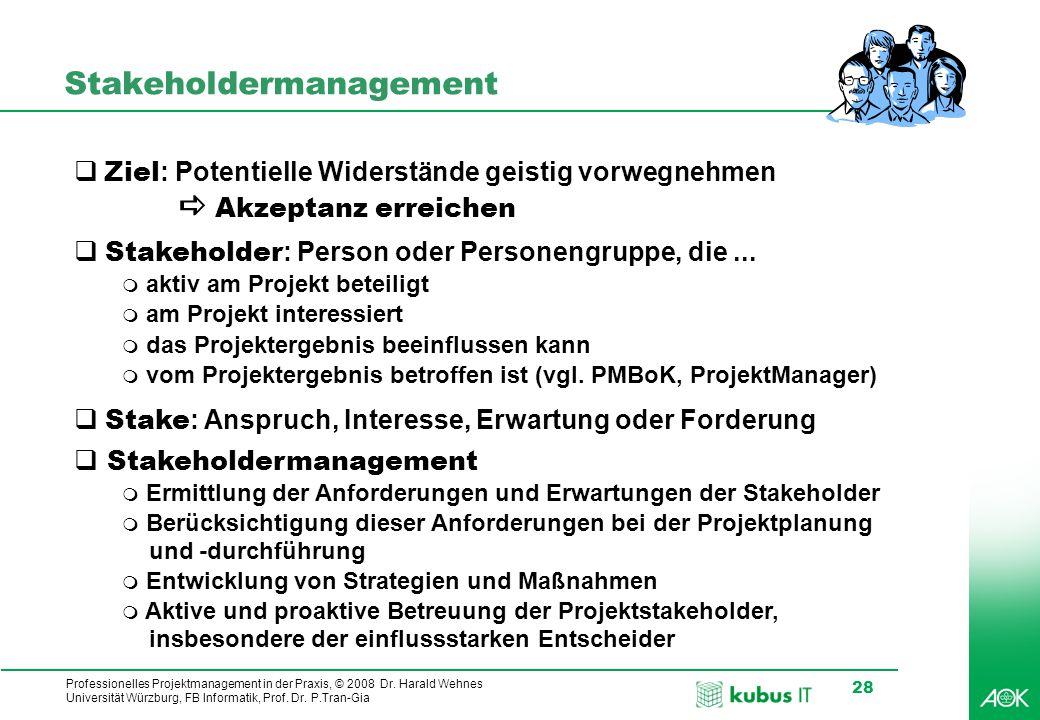 Professionelles Projektmanagement in der Praxis, © 2008 Dr. Harald Wehnes Universität Würzburg, FB Informatik, Prof. Dr. P.Tran-Gia 28 Stakeholdermana