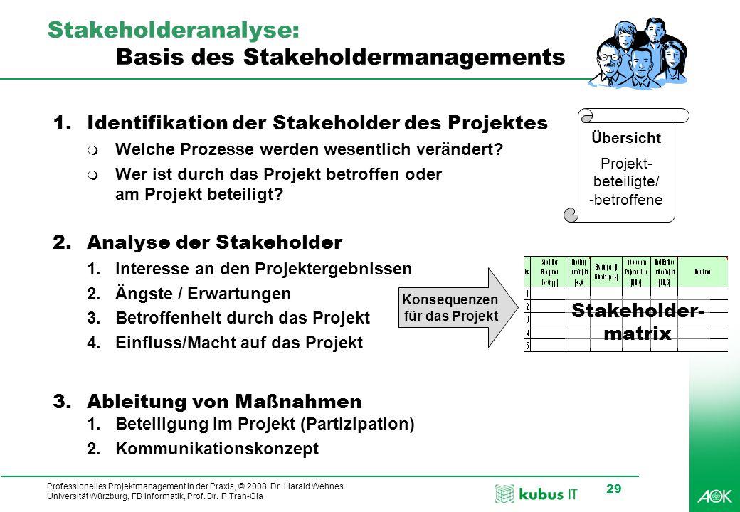 Professionelles Projektmanagement in der Praxis, © 2008 Dr. Harald Wehnes Universität Würzburg, FB Informatik, Prof. Dr. P.Tran-Gia 29 Stakeholderanal