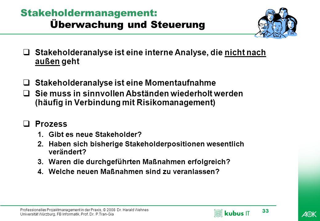Professionelles Projektmanagement in der Praxis, © 2008 Dr. Harald Wehnes Universität Würzburg, FB Informatik, Prof. Dr. P.Tran-Gia 33 Stakeholdermana