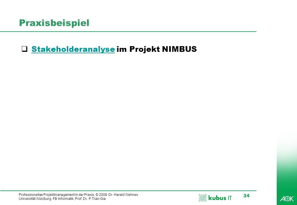 Professionelles Projektmanagement in der Praxis, © 2008 Dr. Harald Wehnes Universität Würzburg, FB Informatik, Prof. Dr. P.Tran-Gia 34 Praxisbeispiel