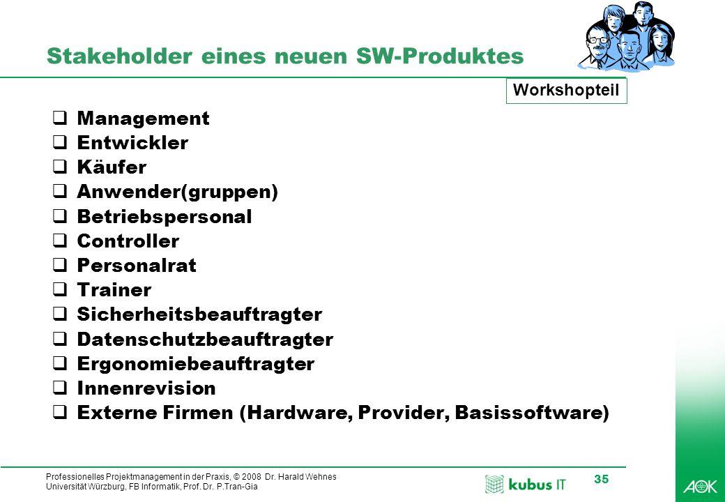 Professionelles Projektmanagement in der Praxis, © 2008 Dr. Harald Wehnes Universität Würzburg, FB Informatik, Prof. Dr. P.Tran-Gia 35 Stakeholder ein