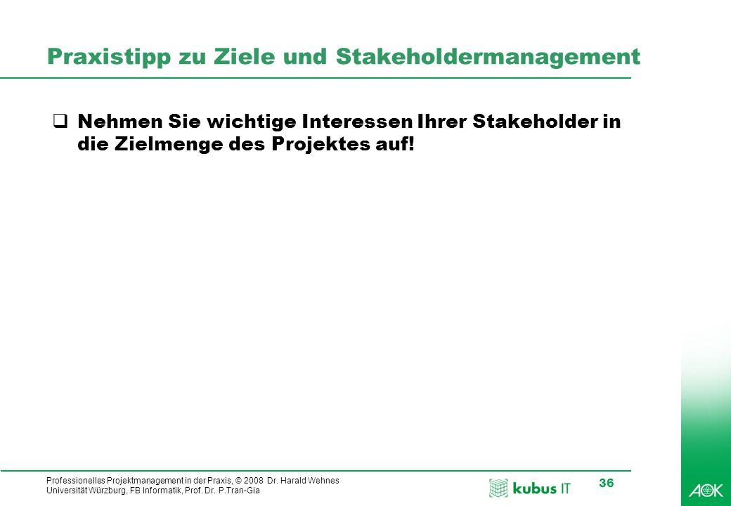 Professionelles Projektmanagement in der Praxis, © 2008 Dr. Harald Wehnes Universität Würzburg, FB Informatik, Prof. Dr. P.Tran-Gia 36 Praxistipp zu Z