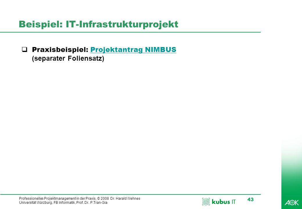 Professionelles Projektmanagement in der Praxis, © 2008 Dr. Harald Wehnes Universität Würzburg, FB Informatik, Prof. Dr. P.Tran-Gia 43 Beispiel: IT-In