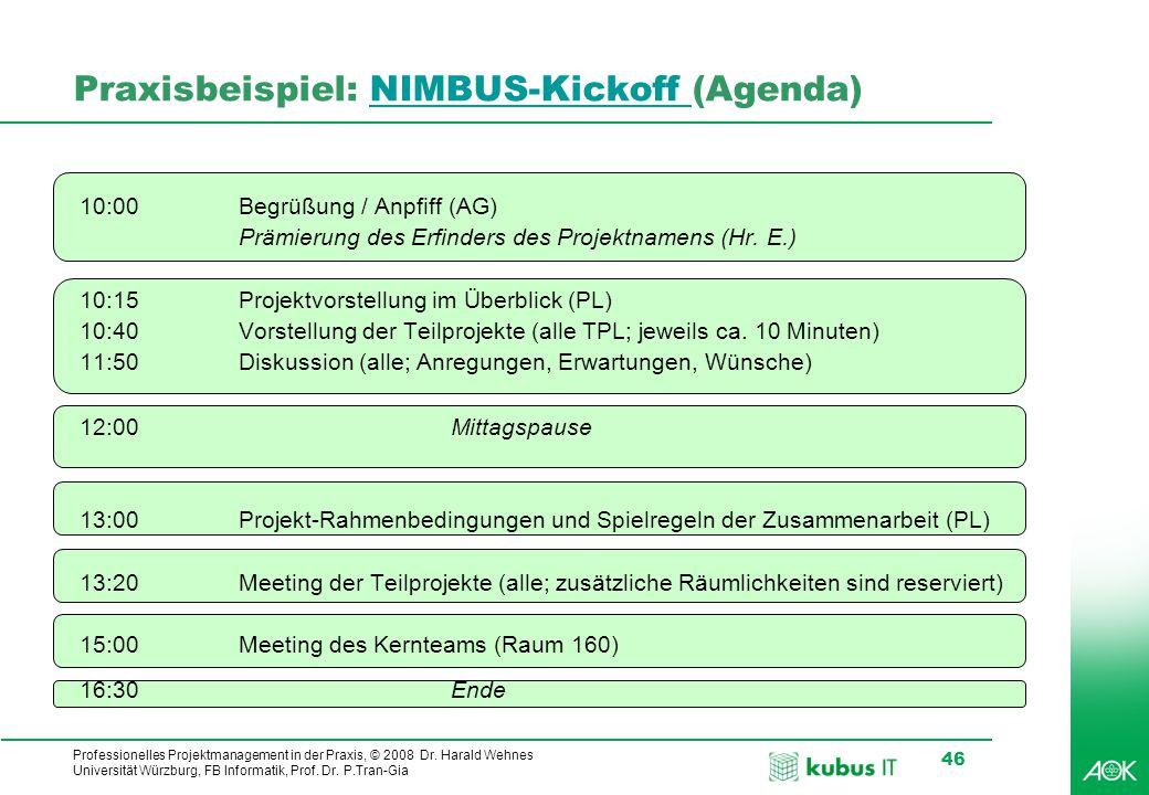 Professionelles Projektmanagement in der Praxis, © 2008 Dr. Harald Wehnes Universität Würzburg, FB Informatik, Prof. Dr. P.Tran-Gia 46 Praxisbeispiel: