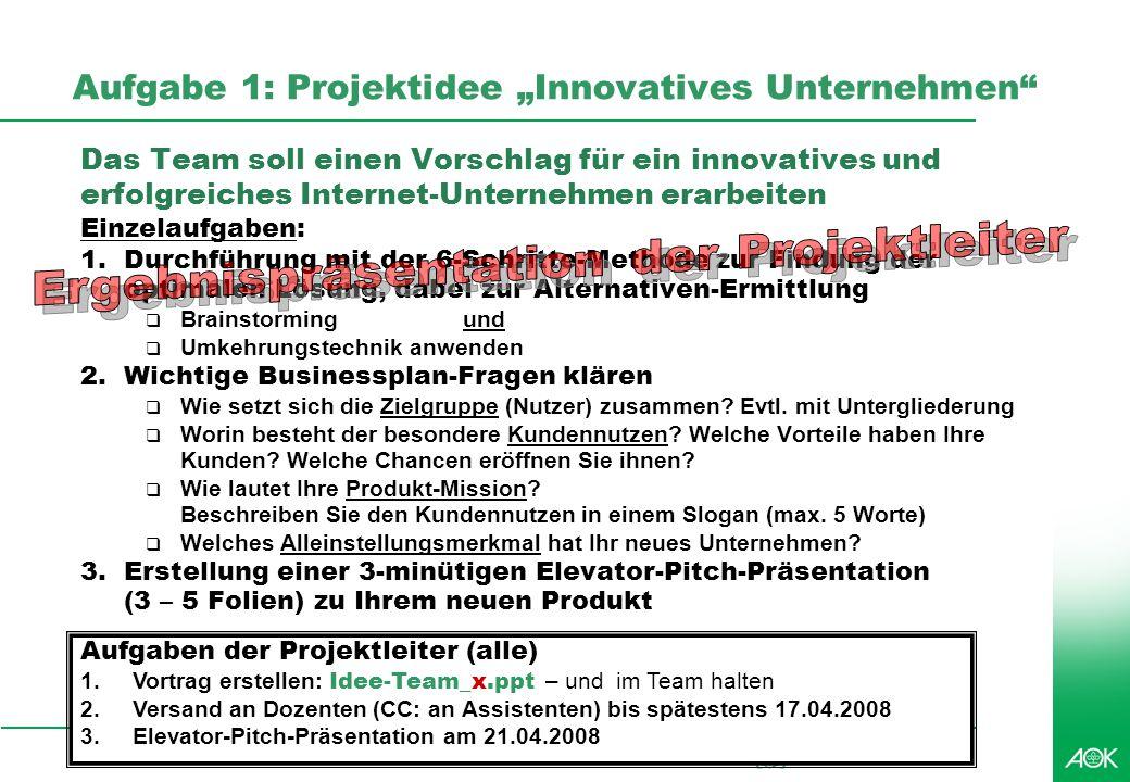 Professionelles Projektmanagement in der Praxis, © 2008 Dr. Harald Wehnes Universität Würzburg, FB Informatik, Prof. Dr. P.Tran-Gia 48 Aufgabe 1: Proj