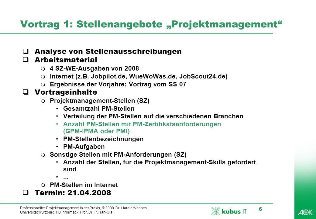 Professionelles Projektmanagement in der Praxis, © 2008 Dr. Harald Wehnes Universität Würzburg, FB Informatik, Prof. Dr. P.Tran-Gia 6 Vortrag 1: Stell