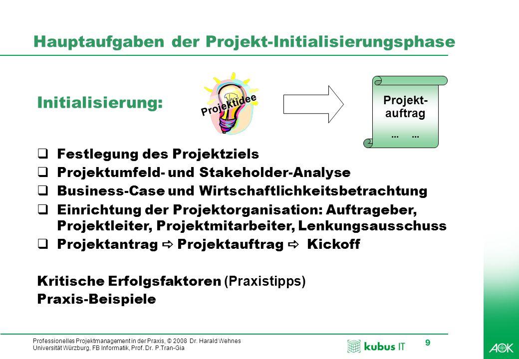Professionelles Projektmanagement in der Praxis, © 2008 Dr. Harald Wehnes Universität Würzburg, FB Informatik, Prof. Dr. P.Tran-Gia 9 Hauptaufgaben de