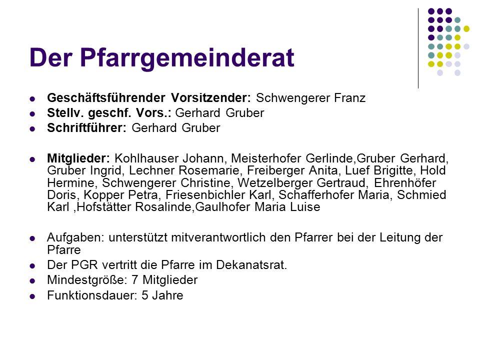 Der Pfarrgemeinderat Geschäftsführender Vorsitzender: Schwengerer Franz Stellv. geschf. Vors.: Gerhard Gruber Schriftführer: Gerhard Gruber Mitglieder