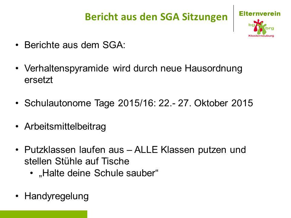 Elternverein Bericht aus den SGA Sitzungen Berichte aus dem SGA: Verhaltenspyramide wird durch neue Hausordnung ersetzt Schulautonome Tage 2015/16: 22.- 27.