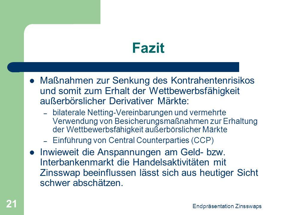 Endpräsentation Zinsswaps 21 Fazit Maßnahmen zur Senkung des Kontrahentenrisikos und somit zum Erhalt der Wettbewerbsfähigkeit außerbörslicher Derivat