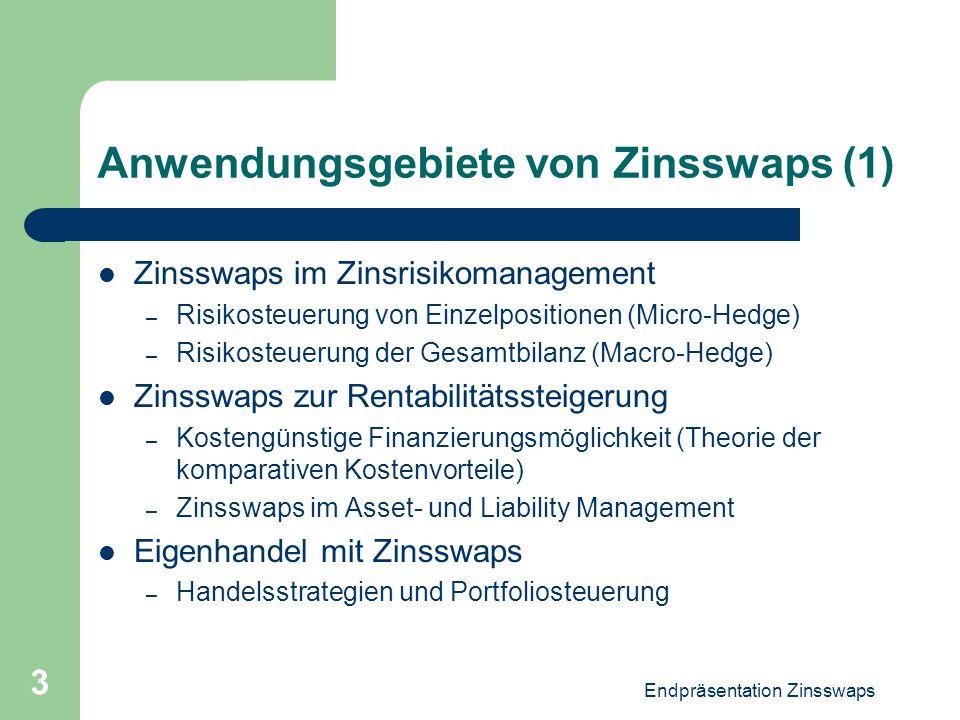 Endpräsentation Zinsswaps 3 Anwendungsgebiete von Zinsswaps (1) Zinsswaps im Zinsrisikomanagement – Risikosteuerung von Einzelpositionen (Micro-Hedge)