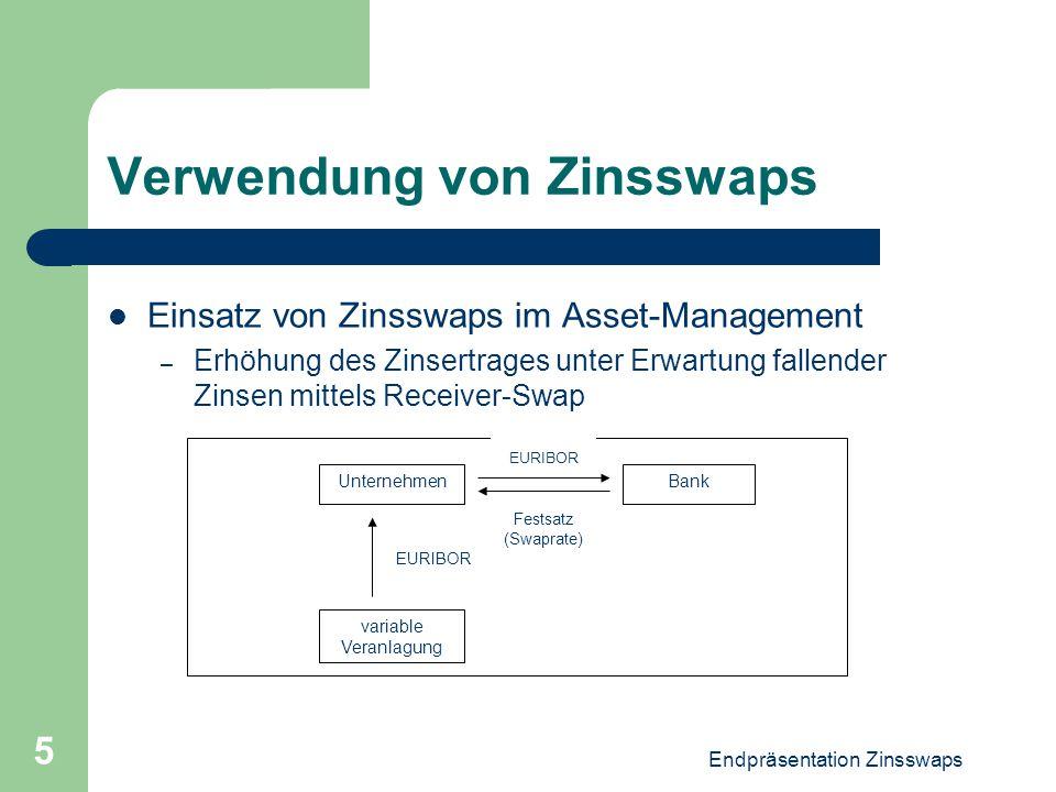 Endpräsentation Zinsswaps 5 Verwendung von Zinsswaps Einsatz von Zinsswaps im Asset-Management – Erhöhung des Zinsertrages unter Erwartung fallender Z