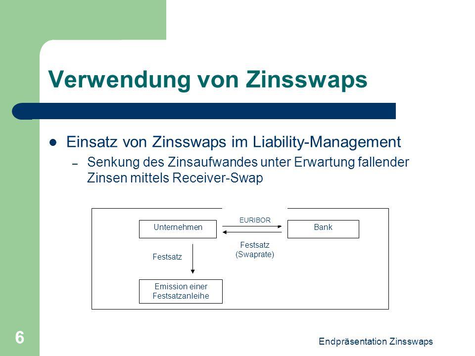 Endpräsentation Zinsswaps 6 Verwendung von Zinsswaps Einsatz von Zinsswaps im Liability-Management – Senkung des Zinsaufwandes unter Erwartung fallend