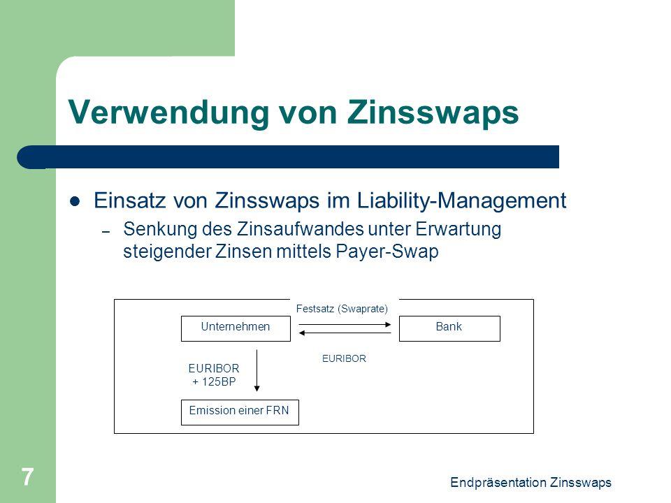 Endpräsentation Zinsswaps 7 Verwendung von Zinsswaps Einsatz von Zinsswaps im Liability-Management – Senkung des Zinsaufwandes unter Erwartung steigen